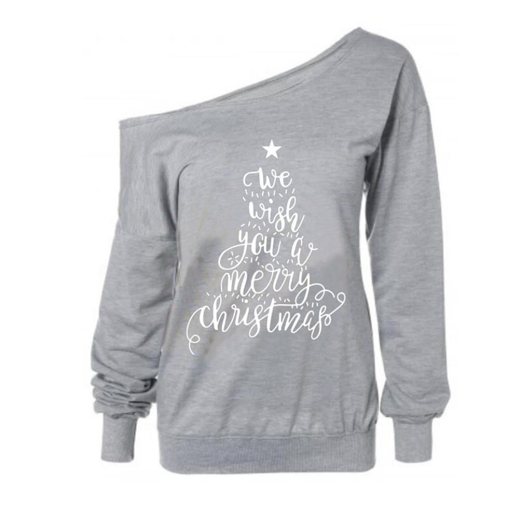 OverDose camisas mujer de navidad blusa manga larga impresión de letra de cuello oblicuo: Amazon.es: Ropa y accesorios