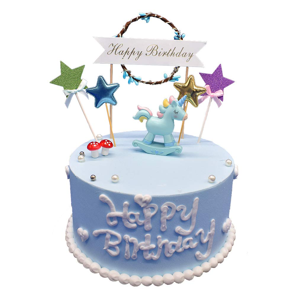Unicorn Cake Topper Set Blue Party Decorations For Baby Shower Girl Boy Birthday And Bridal Wedding Rustic Amazon Grocery Gourmet Food
