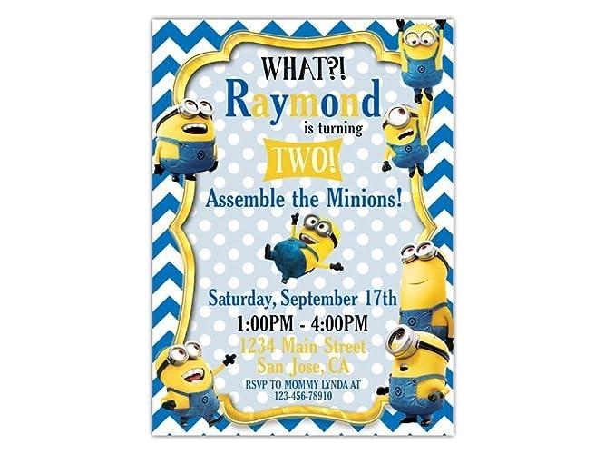 Minion Birthday Party Invitations ANY AGE Custom