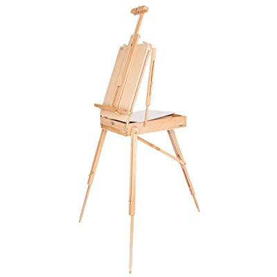ShowMaven Upgraded French Style Easel, Tripod Stand Beech Wooden Travel Sketch Box, Easy Portable Folding with Handle for Artist Painters: Arts, Crafts & Sewing