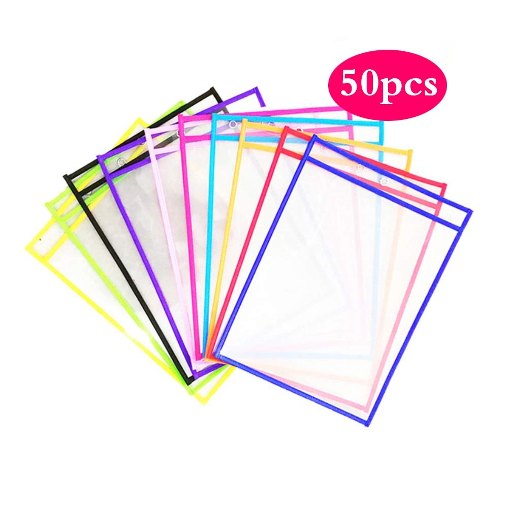 AWYDHC Set of 50 Pcs Dry Wipe Pocket Reusable Pockets Dry Erase Pocket Sheet Protectors 10 Assorted Colors,Use for Children's Writing Painting School Work Teacher Supplies by AWYDHC