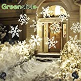 Greenclick Christmas Projector Light LED Snowflakes Waterproof White Lamp Sparkling Landscape for Outdoor Decor Stage Irradiation Holiday Home Decoration Wall Motion Decoration l