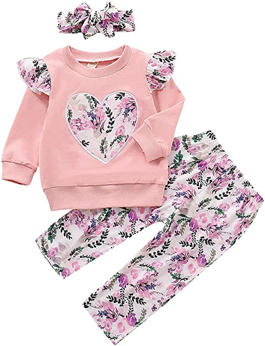 Toddler Infant Baby Boys Girls Long Sleeve Tops Print Pants+Cat 3pcs Outfits