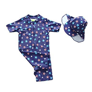 TAIYCYXGAN Baby Little Boys One Piece Bathing Suit Rashguards Swimsuit UV Sun Protective Surfing Suit With Hat UPF 50+