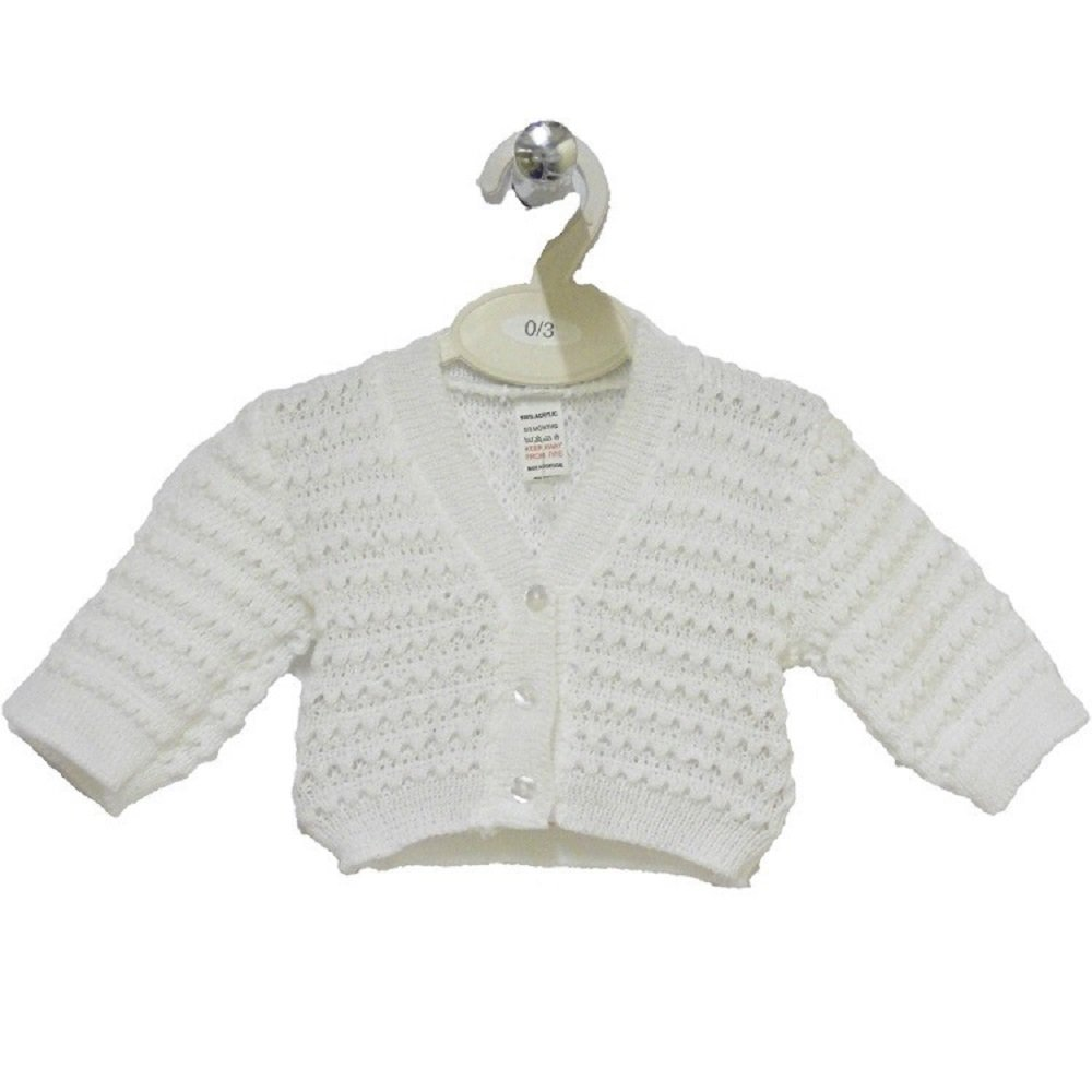 Bee Bo Baby 100% Acrylic knitted eyelet pattern. Available in White, Pink or Blue in sizes 0-3mths, 3-6mths, 6-12mths. (White 6-12mths)