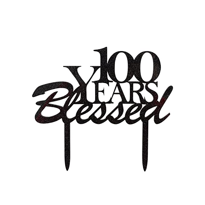 amazon 100 years blessed cake topper 100th birthday party 100th Birthday Party Ideas Decorations amazon 100 years blessed cake topper 100th birthday party decorations 100th wedding anniversary party sign black color home improvement