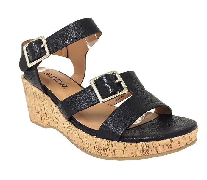 e4de33174 Amazon.com | SODA ZINA2 Kid's Girl Strappy Open Toe Ankle-Strap Wedge  Sandals | Sandals