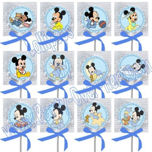 Baby Mickey Mouse Party Favors Supplies Decorations Assorted Images Lollipops w/ Blue Bow Party Favors -12 pcs