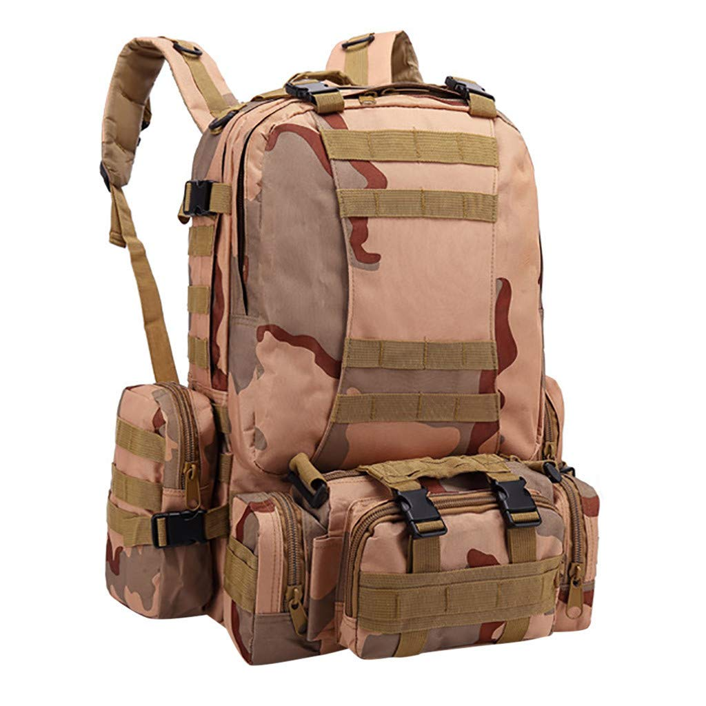 Excursion Sports 55L Tactical Backpack, Women & Men Water Resistant Camouflage Molle Military Army Assault Pack, Durable Lightweight Large Capacity Day Pack Bag for Hiking Camping Safari by Excursion Sports