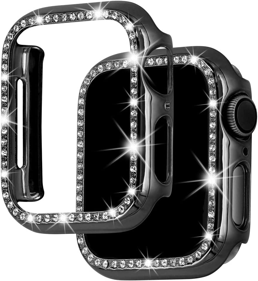 Falandi Bling Case Compatible with Apple Watch Case 40mm 44mm 38mm 42mm, Diamonds Shiny Rhinestone PC Plated Hard Protective Cover Frame for iWatch Series 5 4 3 2 1 Women Girls, Black 38mm