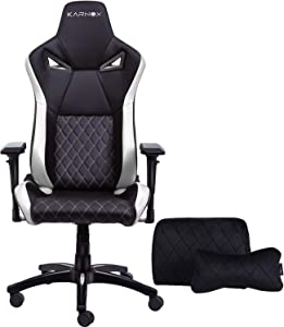 KARNOX TR New Racing Style Gaming Chair with Adjustable Height and Armrests, Ergonomic 155° Reclining, Locking High Back with Integrated Headrest (White)