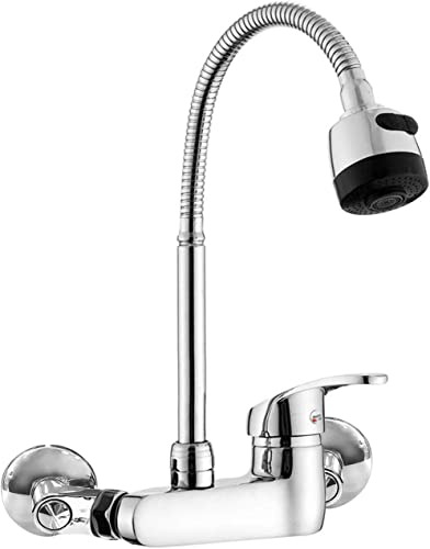 Wall Mount Faucet Kitchen 6 Inch Center Polished Chrome Commercial Single Handle Sprayer Mixer Bar Tap
