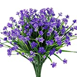Artificial Fake Flowers,Faux Purple Daffodils Outdoor Wholesale Greenery Shrubs Plants Plastic Bushes Window Box UV resistant- 4 Branches Fence Indoor Outside Hanging Planter Wedding Cemetery Decor
