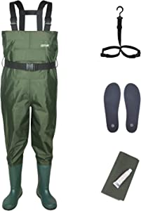 Goture Upgrade Chest Waders for Kids - Lightweight and Breathable Durable PVC Fishing & Hunting Waders for Toddler and Children, Army Green Waterproof Hip Waders for Boy and Girl with Bootfoot
