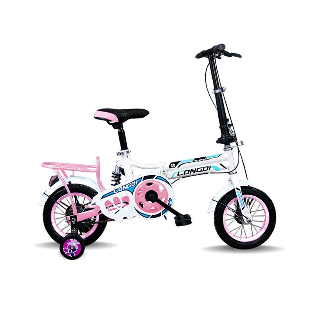 美しい 家チャイルドフォールド自転車3-6-8歳のベビーベビーカー12インチ16インチバイク (色 : ピンク ぴんく, サイズ さいず : 12inch) B07CXQ9Q6Xピンク ぴんく 12inch