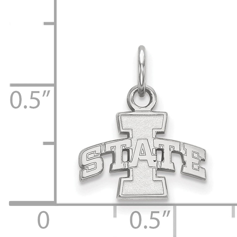 925 Sterling Silver Rhodium-plated Laser-cut Iowa State University XS Pendant