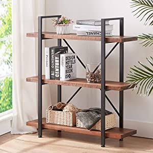 HSH Solid Wood Bookshelf, 3 Tier Rustic Vintage Industrial Etagere Bookcase, Open Metal Farmhouse Book Shelf, Distressed Brown