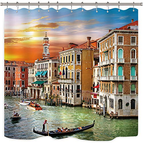 Riyidecor Scenic Venice Shower Curtain Boat Landscape Sunset View Decor Fabric Panel Bathroom Set 72x72 Inch 12 Pack Plastic Shower Hooks Included (Italy Shower Curtain)