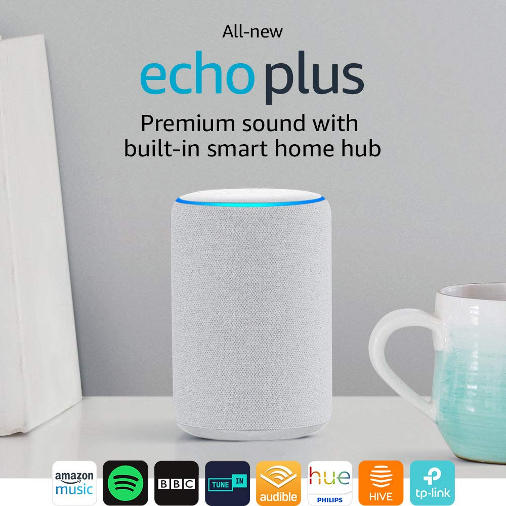 All-new Echo Plus (2nd Gen) – Premium sound with a built-in smart home hub – Sandstone Fabric