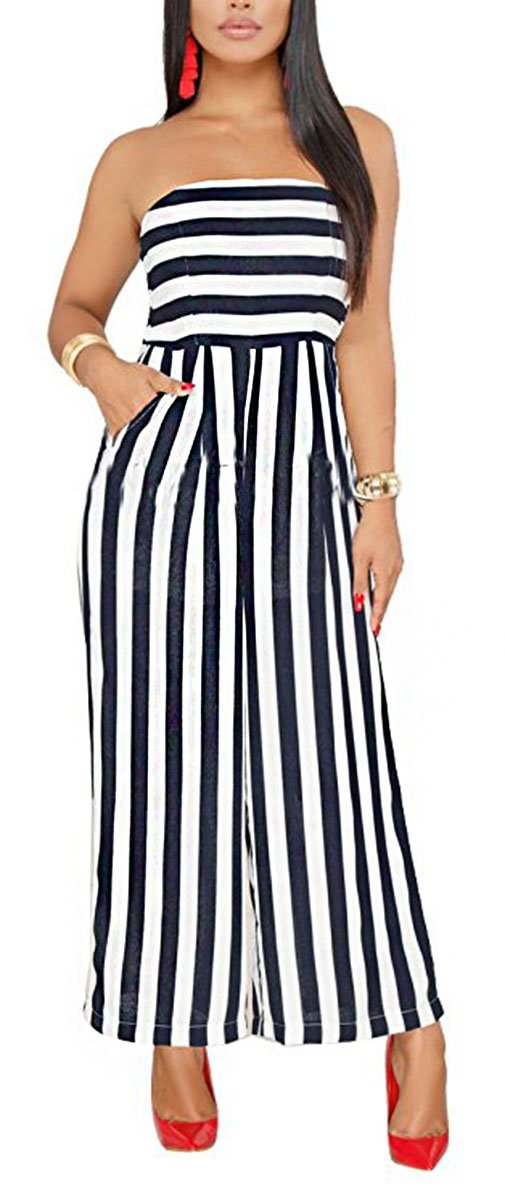 Women Strapless Jumpsuits Off Shoulder Striped Wide Leg Backless Summer Jumpsuit Romper Clubwear Dark Blue, Medium