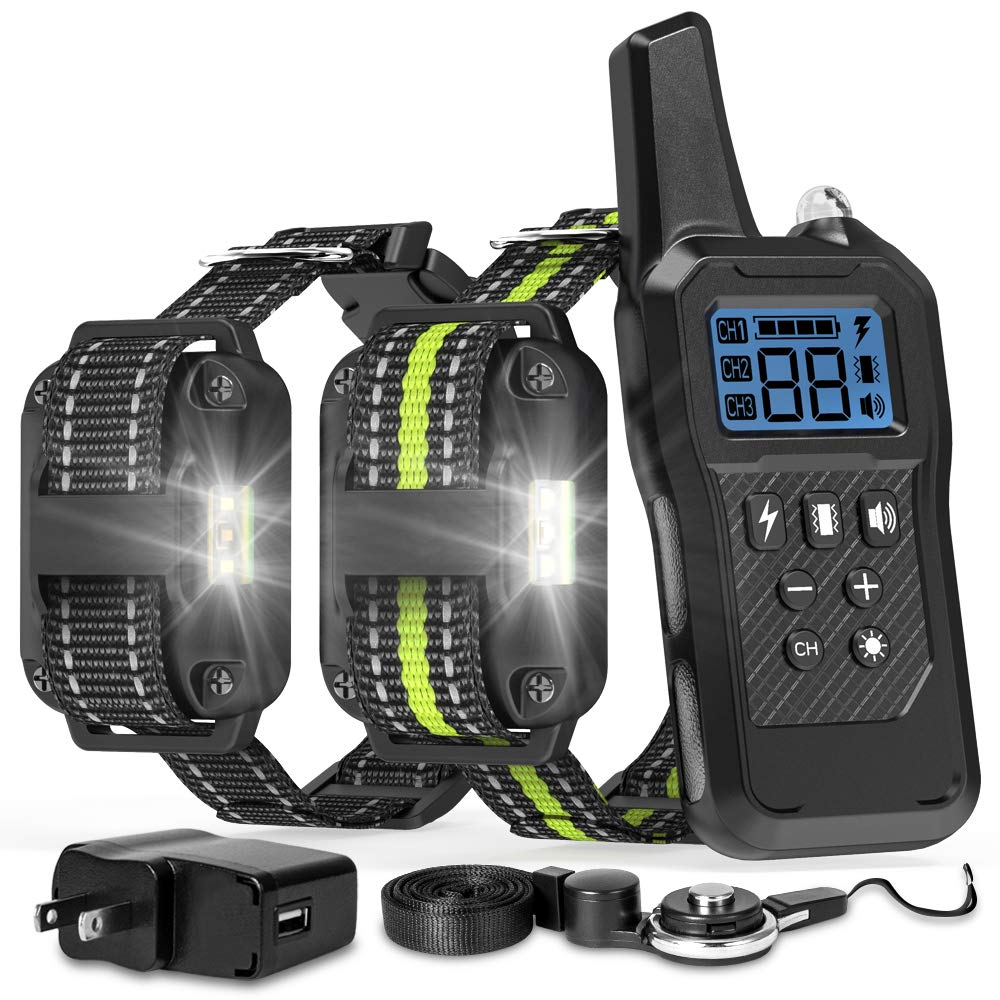FunniPets Dog Training Collar, 2019 Upgraded Dog Shock Collar 2600ft Remote Range Waterproof Shock Collar for 2 Dogs with 4 Training Modes Light Static Shock Vibration Beep by FunniPets