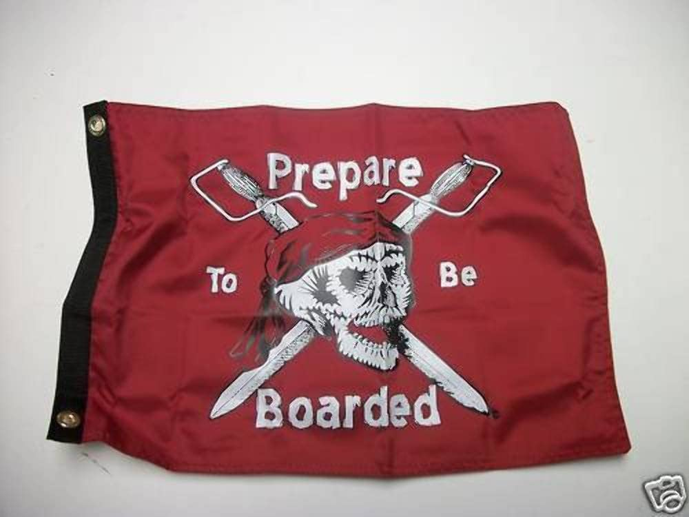 """PIRATE FLAG 12/""""X18/"""" /""""PREPARE TO BE BOARDED/"""" DOUBLE SIDED NYLON BOAT//MOTORCYCLE"""