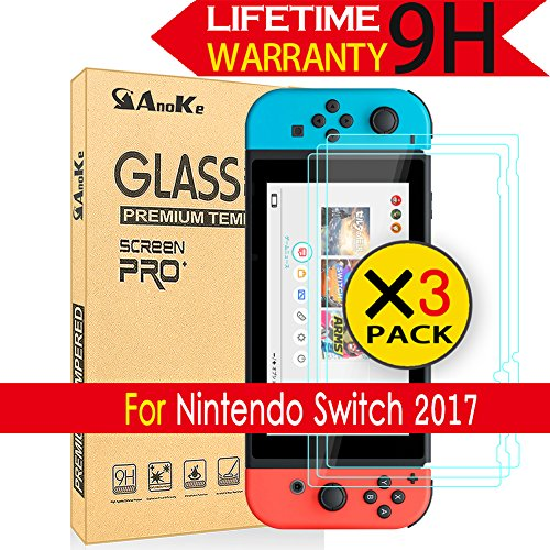 Price comparison product image Nintendo Switch Screen Protector,  [3 Pack] AnoKe (9H 2.5D) Tempered Glass Film Shield Games Console Accessories Case For Nintendo Switch 3Pack