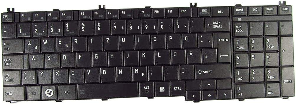 Abakoo Teclado de repuesto para Toshiba Satellite C650 C650D C660 L650 L655 L670 L675 L770 L775 L775D / TO76-GR, teclado alemán negro