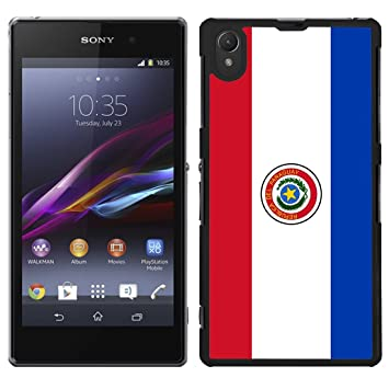 Funda carcasa para Sony Xperia Z1 diseño Bandera Paraguay borde negro