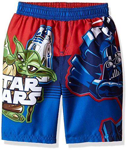 Star Wars Little Boys' Toddler R2d2 Yoda Darth Vader Storm Trooper Swim Trunk, Blue, 2T -