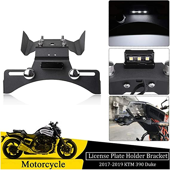 License Plate Mount Holder Frame Bracket with LED Light for KTM Duke 390 2017-2019 Motorbike Motorcycle Accessories