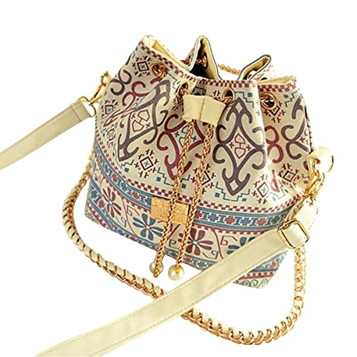 5d53df2c9ae4c Damen Retro Bohemia Leder Handtasche Tote Schulter Handtasche Bucket ...