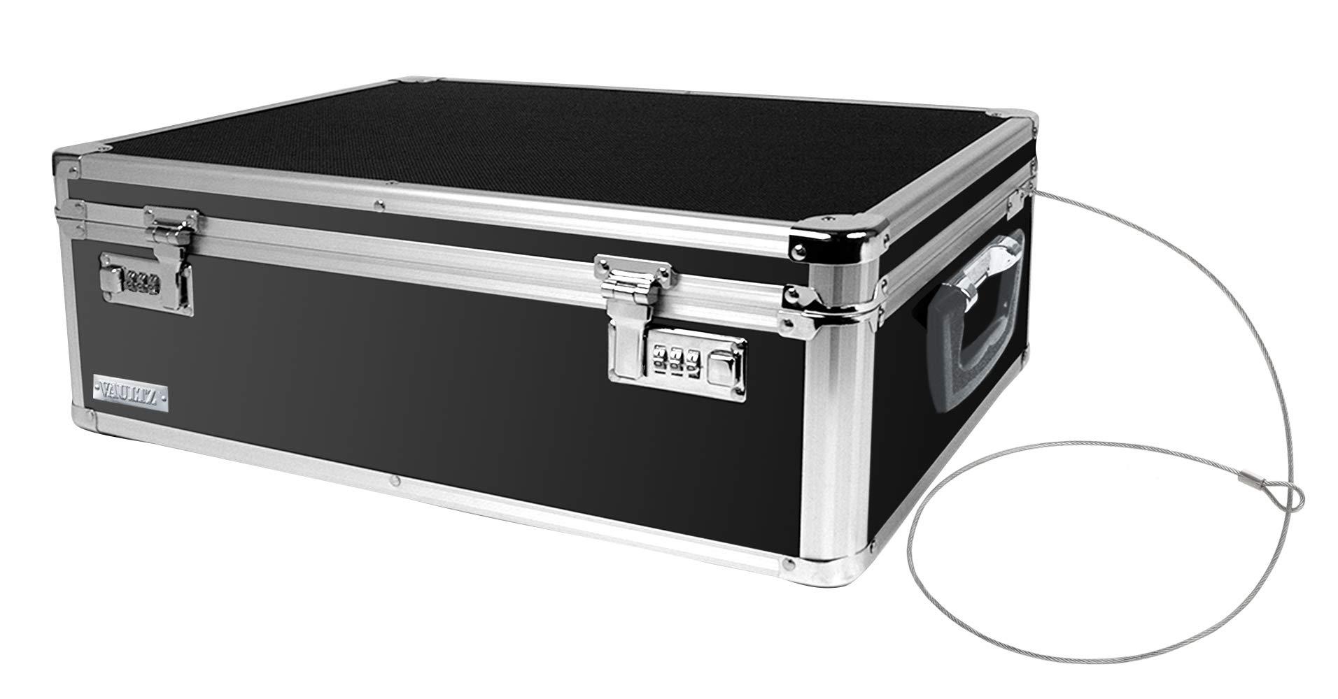 Vaultz Locking Storage Box, 6.5 x 19 x 13.5 Inches, Black (VZ00642) by Vaultz