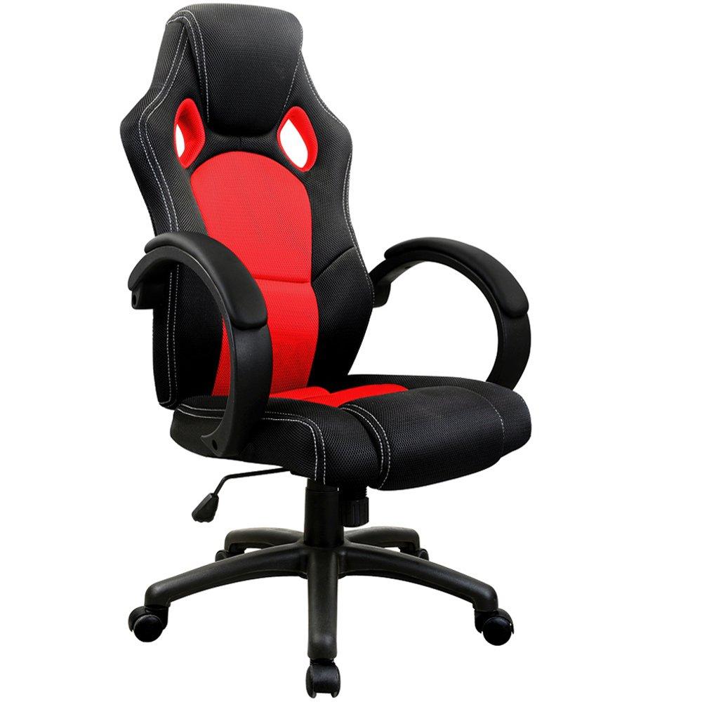 Chaise de bureau sport fauteuil siege baquet rouge et noir réglable en hauteur amazon fr cuisine maison