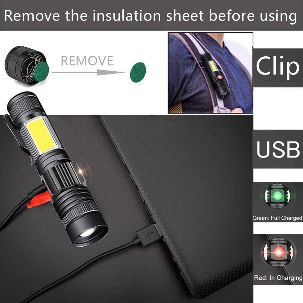 2 unidades bater/ía 18650 incluida con zoom Amees Linterna LED recargable con im/án recargable COB USB
