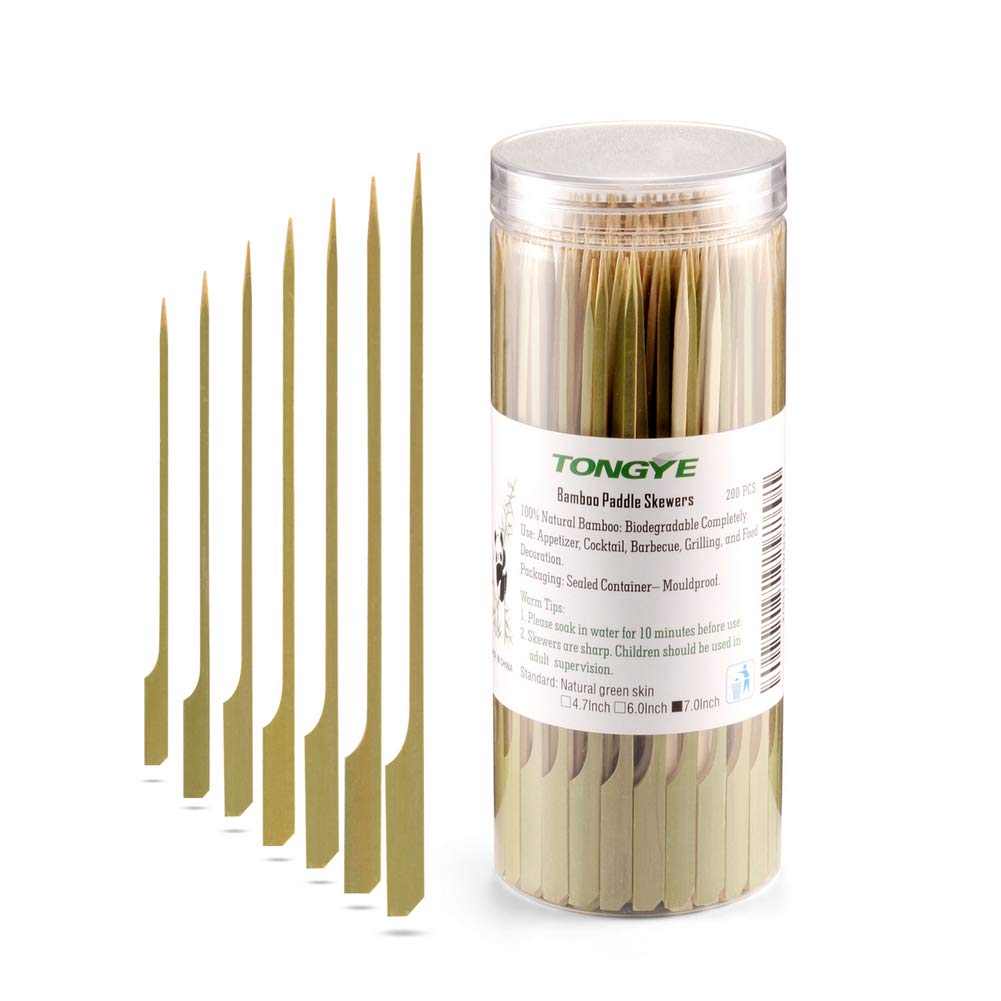 Bamboo Paddle Skewers 7 Inch, Food Grade Appetizer and Cocktail Picks, Wooden Barbecue/BBQ, Fruit, Sausage, Burger, Kabob Sticks for Party, Grilling. (200PCS Green Skin)