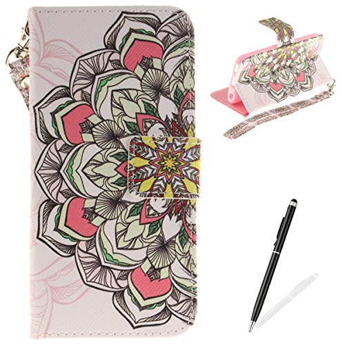 MAGQI iPod Touch 5/6 Case, Leather Case,Premium Slim PU Wallet Cover with Colorful Mandala Design Magnetic Folio Skin Shell for iPod Touch 5/6-Colourful Mandala