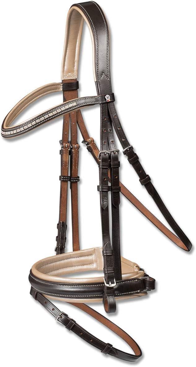 乗馬 頭絡 付属品 額革 WALDHAUSEN -褐色 BEIGE- 水勒頭絡 セット(手綱付き) 乗馬用品 馬具  Cob