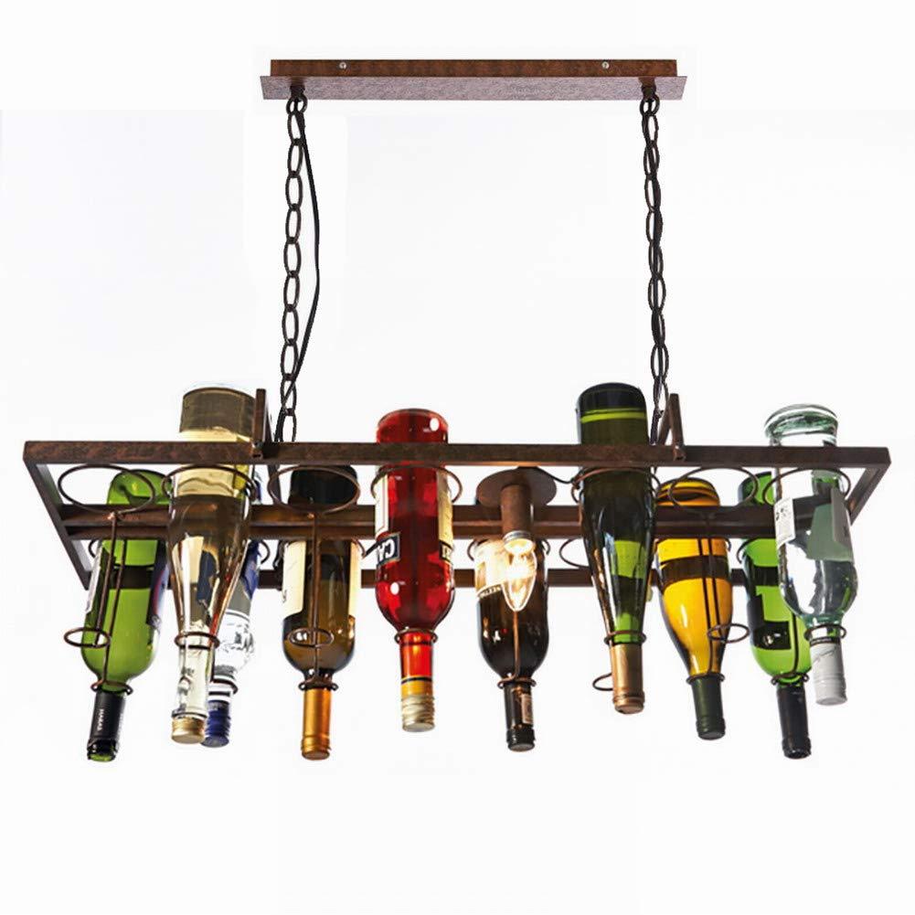 Newrays Antique Rust Hanging Square Wine Bottle Pendant Lamp Island Bar Restaurant Light Fixtures