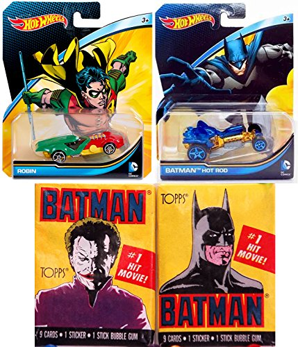 Super Solar Race Car (DC Super Hero Cars Hot Wheels Character Batman & Robin Dynamic Duo Hot Rod & Bonus classic Movie Card Packs)