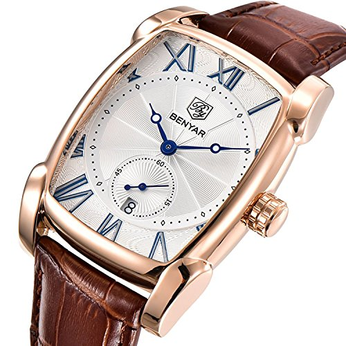 Mens Unique Business Quartz Watch Roman Numeral Casual Fashion Analog Wrist watch Classic Calendar Date Window Waterproof Leather Watches