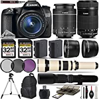 Canon EOS 70D SLR Wi-Fi Camera + Canon 18-55mm IS STM Lens + Canon 55-250mm STM Lens+ 0.43X Wide Angle Lens + 2.2x Telephoto Lens + 650-1300mm Zoom Lens + 500mm Telephoto Lens - International Version