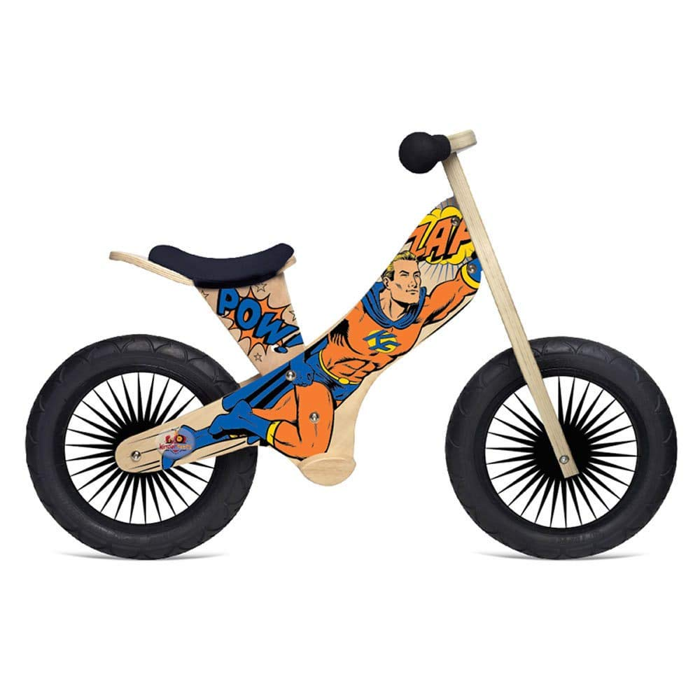 Kinderfeets Retro - Wooden balance bike with foot pegs, adjustable seat and EVA airless tires. Rocket KDFKF14.11