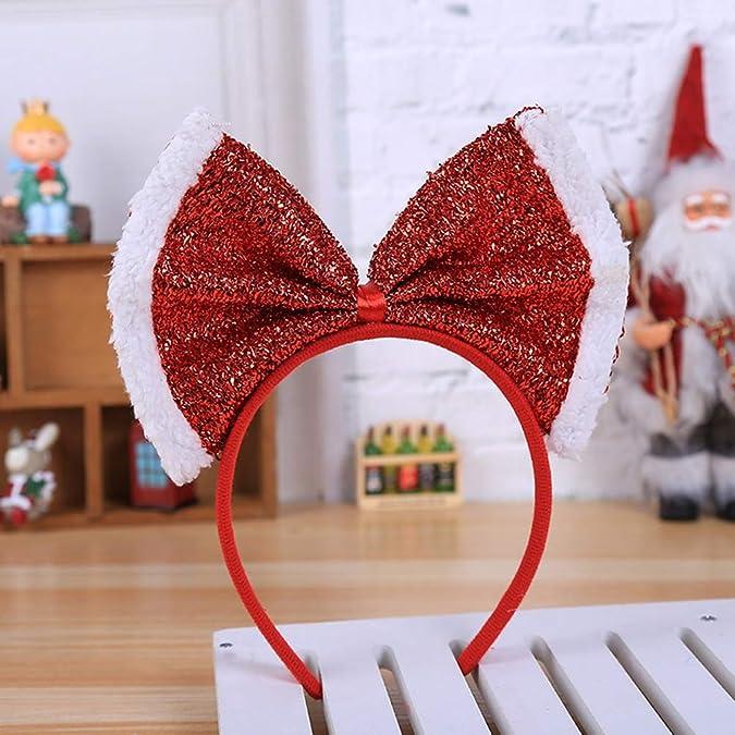 Amosfun fiocco rosso fascia accessori per capelli fascia natalizia per la festa di compleanno di natale