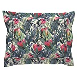 Roostery Protea Fynbos Nature Painting Floral South Africa Sage Pillow Sham by