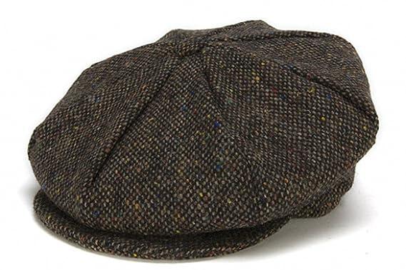 36680d2f2ac Hanna Hats Men s Donegal Tweed 8 Piece Cap Newsboy Cap Brown Salt   Pepper  Small