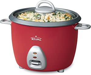 Rival RC61 RC61 6-Cup Rice Cooker w/Steamer, Red