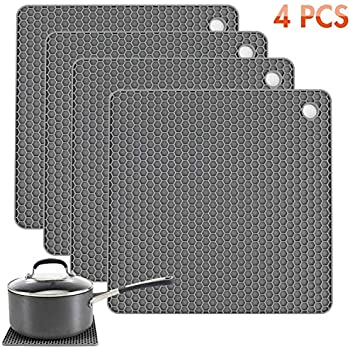 Tonmidej Silicone Pot Holder Square Honeycomb Pattern 7.2 x 7.2 x 0.2 inch/Grey - Set of 4