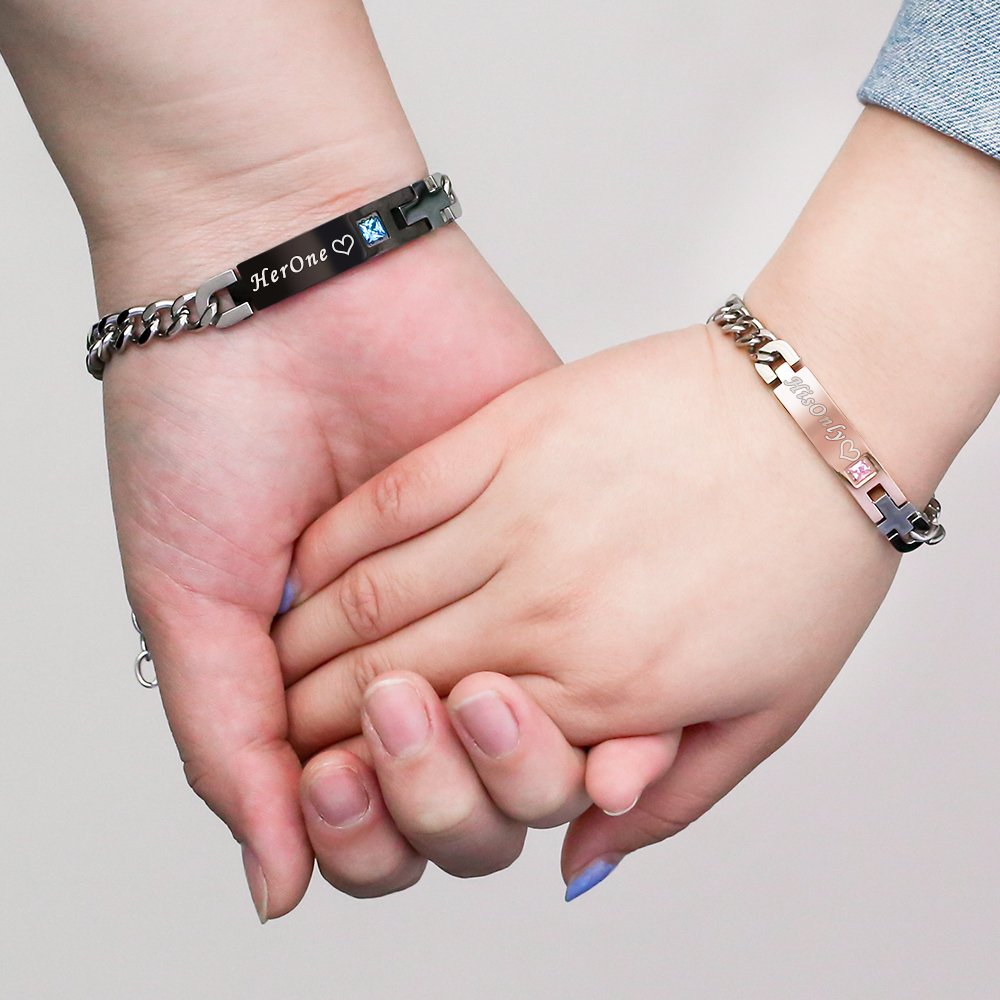 Gagafeel His Only Her One Stainless Steel Chain Couple Bracelet Gift Set for Lover (His Only Her One)