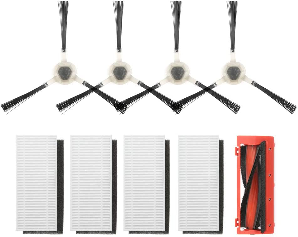 LEFANT Replacement Parts,1 Main Brush, 4 Side Brushes and 4 High-Efficiency Filters, Accessories Kit for Robotic Vacuum T700 M500